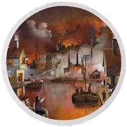Round Beach Towel featuring the painting Destruction Of Dudley Castle by Ken Wood