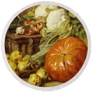Detail Of A Still Life With A Basket, Pears, Onions, Cauliflowers, Cabbages, Garlic And A Pumpkin Round Beach Towel