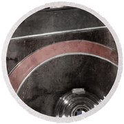 Round Beach Towel featuring the photograph Detail Of A Vintage Car. by Andrey  Godyaykin