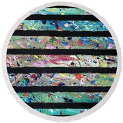 Round Beach Towel featuring the painting Detail Of Agoraphobia 2 by Robbie Masso