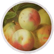 Detail Of Apples On A Shelf Round Beach Towel by Jakob Bogdany