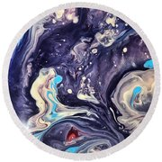 Detail Of Fluid Painting 1 Round Beach Towel