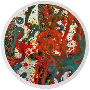 Round Beach Towel featuring the painting Detail Of Hogwarts by Robbie Masso