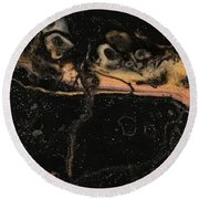 Round Beach Towel featuring the painting Detail Of New Orleans Saxophone by Robbie Masso