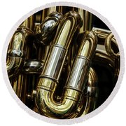 Detail Of The Brass Pipes Of A Tuba Round Beach Towel