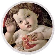 Detail Of The Christ Child From The Madonna Of The Pomegranate  Round Beach Towel