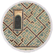 Detail Of Window And Geometric Patterns On Khoja Ahmed Yasawi Ma Round Beach Towel by Reimar Gaertner