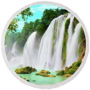 Detian Waterfall Round Beach Towel