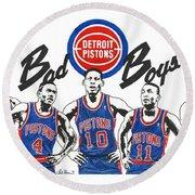 Detroit Bad Boys Pistons Round Beach Towel