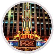 Detroit Fox Theatre Marquee Round Beach Towel