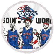 Detroit Goin' To Work Pistons Round Beach Towel