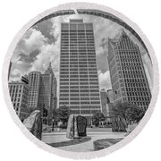Detroit Hart Plaza And Cityscape  Round Beach Towel