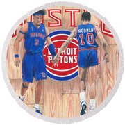 Detroit Hustle - Ben Wallace And Dennis Rodman Round Beach Towel