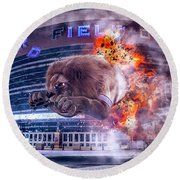 Round Beach Towel featuring the photograph Detroit Lions At Ford Field 2 by Nicholas Grunas
