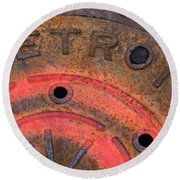 Detroit Manhole Cover Spray Painter Red Round Beach Towel by Sandra Church