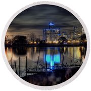 Detroit Reflections Round Beach Towel by Nicholas  Grunas
