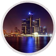 Detroit Skyline 4 Round Beach Towel by Gordon Dean II