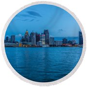 Detroit Skyline Round Beach Towel