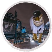 Detroit Tigers At  Comerica Park Round Beach Towel by Nicholas  Grunas