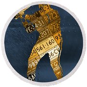 Detroit Tigers Baseball Batter Player Recycled Michigan License Plate Art Round Beach Towel