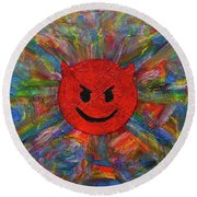 Devil Abtract Round Beach Towel by Gerhardt Isringhaus
