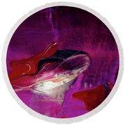 Devilfish Art - Purple Vibrant Underwater Abstract Painting Round Beach Towel