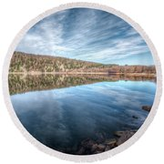 Devils Lake Round Beach Towel