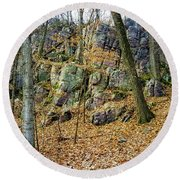 Devils Lake Rock Formation  Round Beach Towel