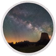 Round Beach Towel featuring the photograph Devils Night Watch by Darren White
