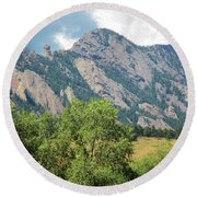 Round Beach Towel featuring the photograph Devil's Thumb Flatirons Colorado by Marilyn Hunt