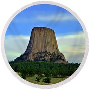 Round Beach Towel featuring the photograph Devils Tower 002 by George Bostian