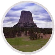 Round Beach Towel featuring the photograph Devil's Tower 2 by Gary Lengyel