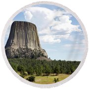 Devils Tower National Monument Round Beach Towel
