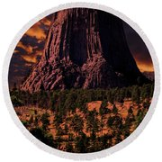 Round Beach Towel featuring the photograph Devils Tower Sunrise by Scott Read