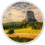 Devil's Tower - The Other Side Round Beach Towel