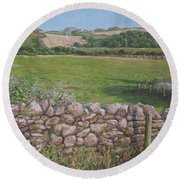 Round Beach Towel featuring the painting Devon Field And Drystone Wall by Martin Davey