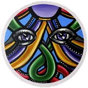 Colorful Eye Art Paintings Abstract Eye Painting Chromatic Artwork Round Beach Towel