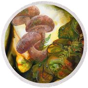 Round Beach Towel featuring the painting Dew Drop Mushrooms by Sherry Shipley