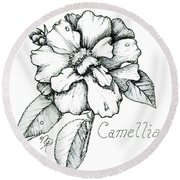 Dew Kissed Camellia Round Beach Towel