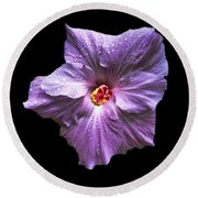 Dew Kissed Hibiscus Round Beach Towel