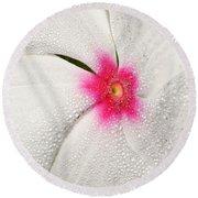 Dew-sprinkled Periwinkle Round Beach Towel