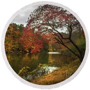 Dewey Lake In Autumn Round Beach Towel by Lena Auxier