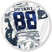 Round Beach Towel featuring the mixed media Dex Bryant Dallas Cowboys Pixel Art 6 by Joe Hamilton