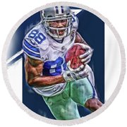 Dez Bryant Dallas Cowboys Oil Art Round Beach Towel