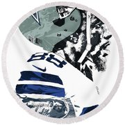 Round Beach Towel featuring the mixed media Dez Bryant Dallas Cowboys Pixel Art 4 by Joe Hamilton
