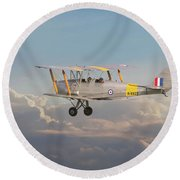 Round Beach Towel featuring the digital art Dh Tiger Moth - 'first Steps' by Pat Speirs