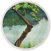 Dhanmondi Lake 03 Round Beach Towel