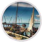Dhow Sailing Boat Round Beach Towel by Amyn Nasser