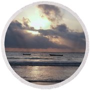 Dhow Wooden Boats At Sunrise 1 Round Beach Towel