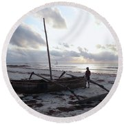 Dhow Wooden Boats At Sunrise With Fisherman Round Beach Towel
